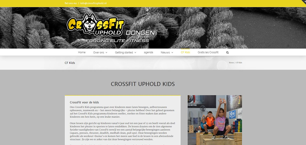 website design crossfit uphold voorbeeld